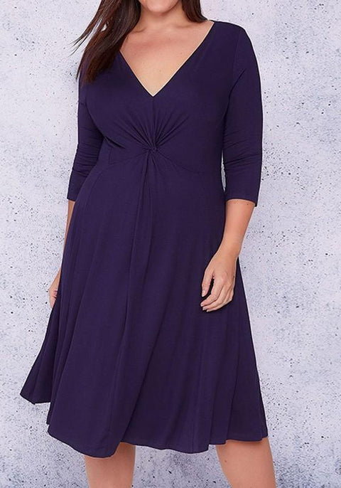 DaysCloth Purple Draped Ruched Plus Size V-neck 3/4 Sleeve Midi Dress