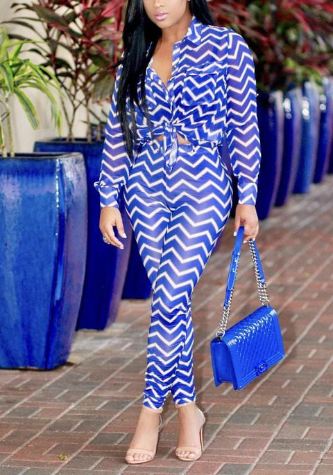 DaysCloth Blue-White Striped Pockets Turndown Collar Two Piece Casual Long Jumpsuit
