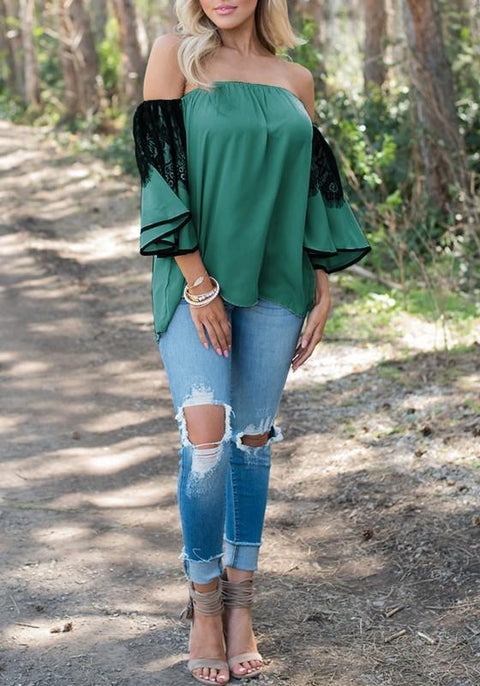 DaysCloth Green Patchwork Lace Pleated Plus Size Off Shoulder Flare Sleeve Cute Blouse