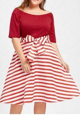 DaysCloth Red Striped Print Bow Off Shoulder Plus Size Tutu Christmas Party Midi Dress