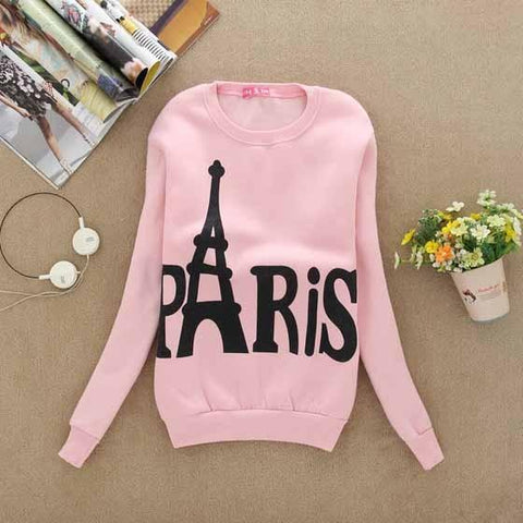 New Pink Floral Print Round Neck Long Sleeve Casual Pullover Sweatshirt