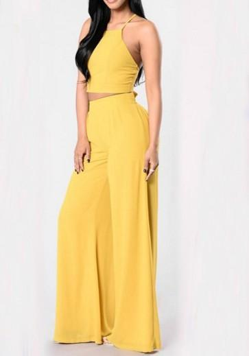 DaysCloth Yellow Tie Back Backless Las Vegas Two Piece Wide Leg Long Jumpsuit