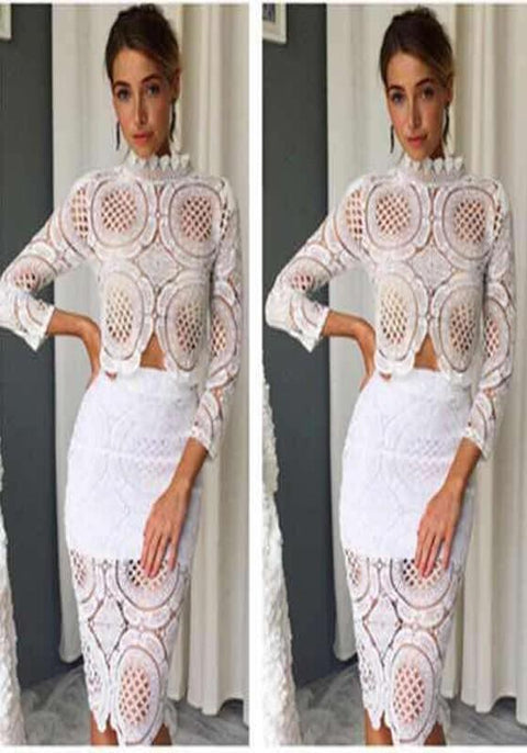 DaysCloth White Floral Lace Cut Out Two Piece Band Collar Party Midi Dress