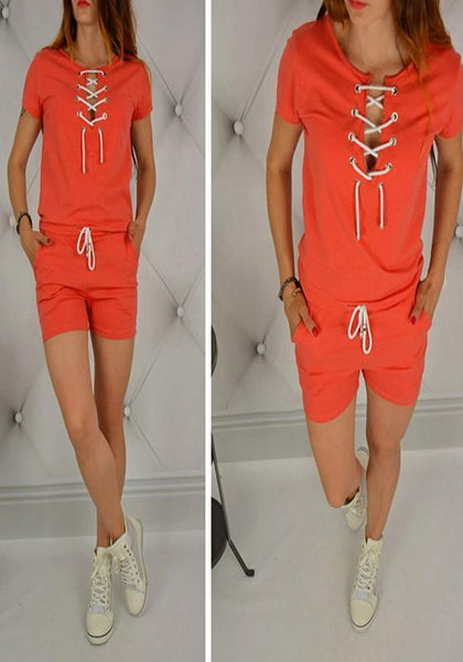Orange Plain Pockets Lace Up Round Neck Drawstring Waist Short Jumpsuit