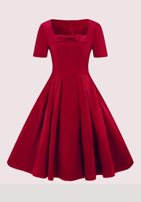 DaysCloth Burgundy Draped Bow Tutu Hepburn Elegant Party Midi Dress
