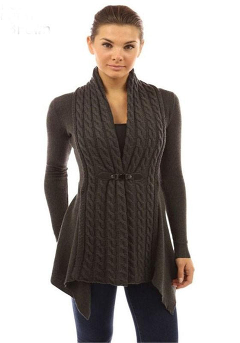 DaysCloth Brown Plain Studded Collarless Casual Wool Cardigan Sweater