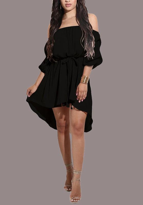 DaysCloth Black Sashes Draped Irregular Belt Off Shoulder Backless High-Low Party Midi Dress