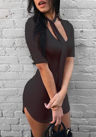 Black Wrap Scoop Neck Half Sleeve Clubwear Bodycon Mini Dress