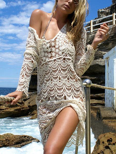 White V-neck Cut Out Detail Long Sleeve Lace Mini Dress