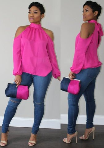 DaysCloth Pink Halter Neck Off Shoulder Bow Long Sleeve Fashion T-Shirt