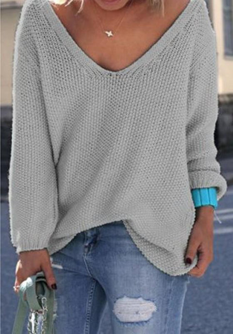 DaysCloth Grey Plain V-neck Long Sleeve Loose Fashion Pullover Sweater