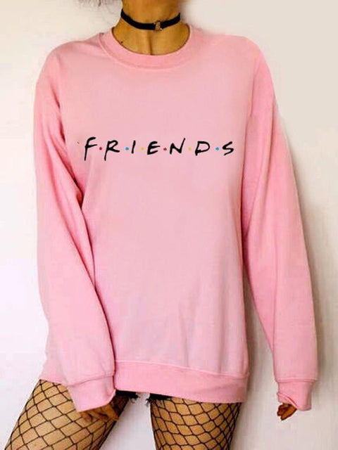 DaysCloth New Pink Monogram Print Round Neck Long Sleeve Casual Sweatshirt