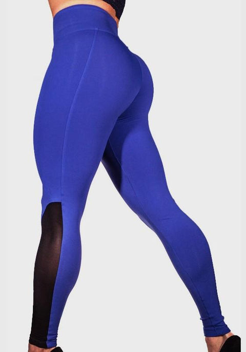 DaysCloth Blue Patchwork Grenadine Skinny Sports Yoga Workout Long Legging