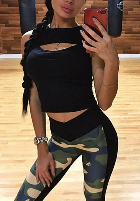 DaysCloth Green Camouflage Print Elastic Waist Sports Long Leggings