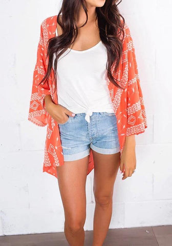 Orange Geometric Print Bikini Smock Beach Boho Kimono Cover-Up Cardigan Coat