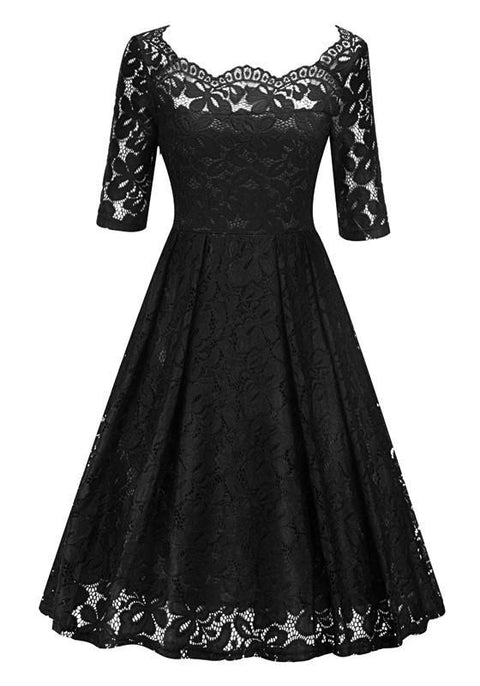 DaysCloth Black Patchwork Lace Pleated Off Shoulder Midi Dress