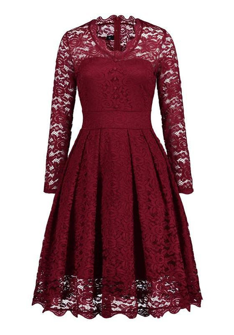 DaysCloth Red Lace Buttons Draped Banquet Elegant Party Midi Dress