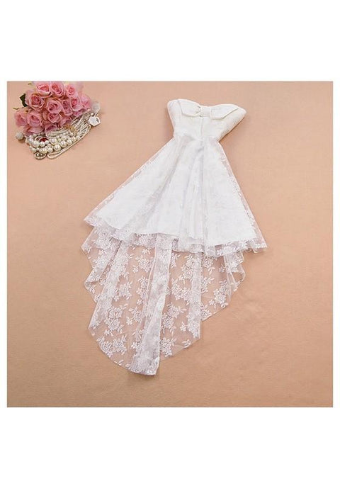 DaysCloth White Patchwork Lace Bow Embroidery Bandeau High-low Midi Dress