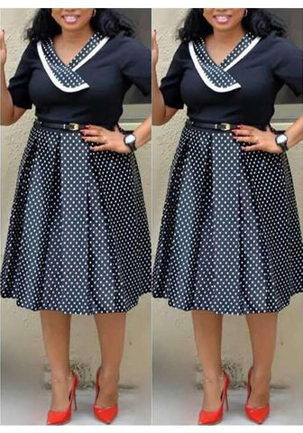 DaysCloth Black-White Polka Dot Pleated Formal Plus Size Short Sleeve Party Banquet Midi Dress