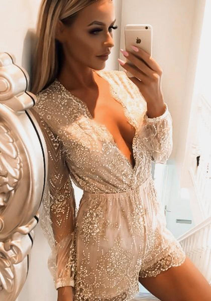 Golden Floral Sequin Grenadine Plunging Neckline Fashion Short Jumpsuit