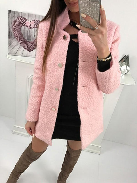 DaysCloth New Pink Buttons Square Neck Long Sleeve Fashion Coat