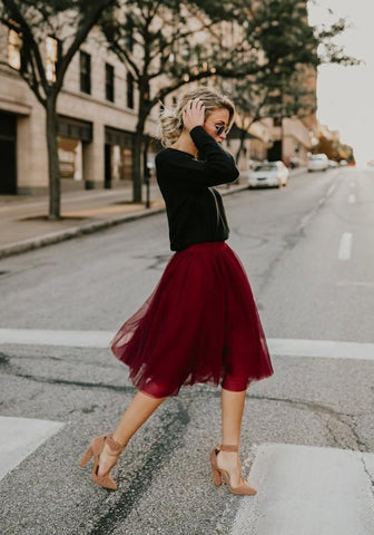 DaysCloth Burgundy Grenadine High Waisted Tutu Fluffy Tulle Party Midi Skirt