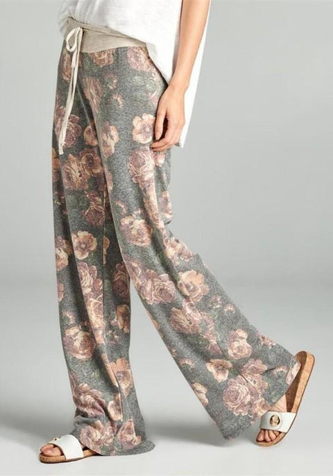 DaysCloth Grey-Pink Flowers Plus Size Drawstring Waist Mid-rise Casual Pants