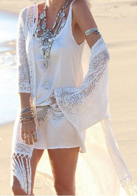 DaysCloth White Cut out Lace Tassel Bohemian Beach Long Cover Up Cardigan Kimono