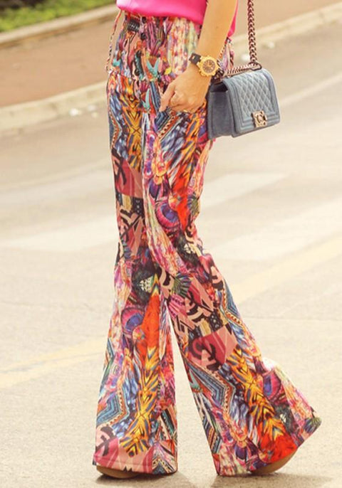 DaysCloth Multicolor Print Pockets Elastic Waist Fashion Long Pants