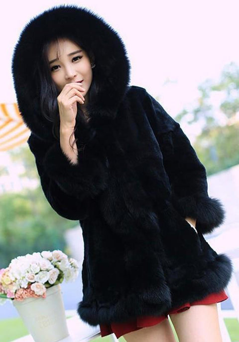 DaysCloth Black Patchwork Irregular Hooded 3/4 Sleeve Fashion Fur Coat