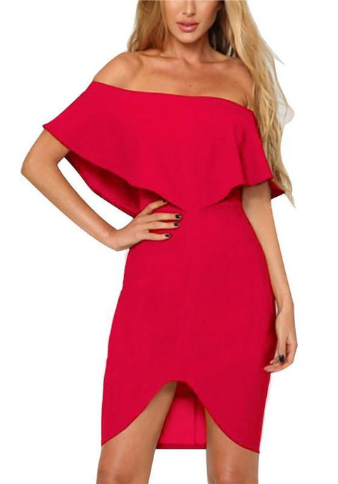 DaysCloth Red Ruffle Zipper Backless Slit Off Shoulder Bodycon Homecoming Party Midi Dress