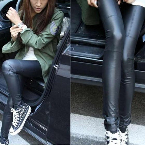 DaysCloth Black Ruffle Elastic Waist Fashion Faux Fur Long Leggings
