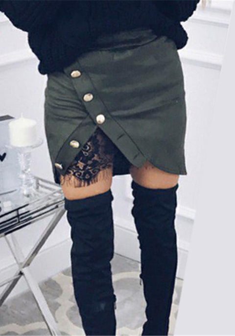 DaysCloth Green Patchwork Irregular Buttons Lace Zipper Fashion Skirt