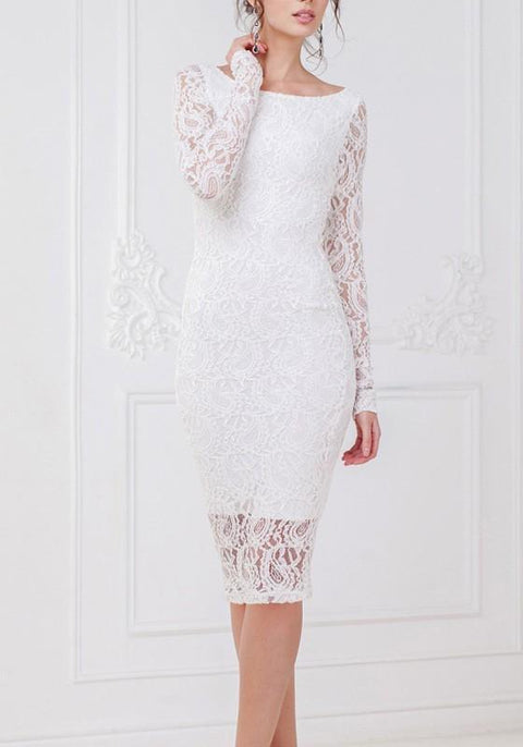 DaysCloth White Patchwork Lace Round Neck Long Sleeve Midi Dress