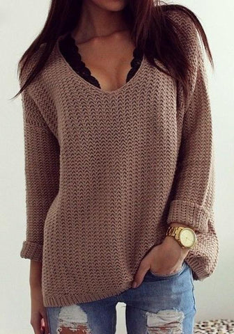 DaysCloth Coffee Plain Hollow-out V-neck Long Sleeve Loose Vintage Casual Pullover Sweater