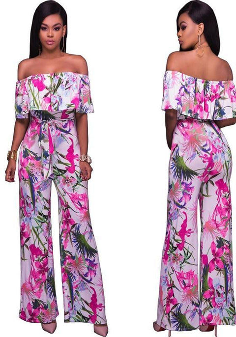 DaysCloth Rose Carmine Floral Print Ruffle Off Shoulder High Waisted Bohemian Long Jumpsuit
