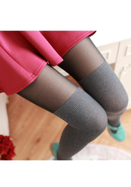 Light Grey Patchwork Draped Elastic Waist Long Leggings