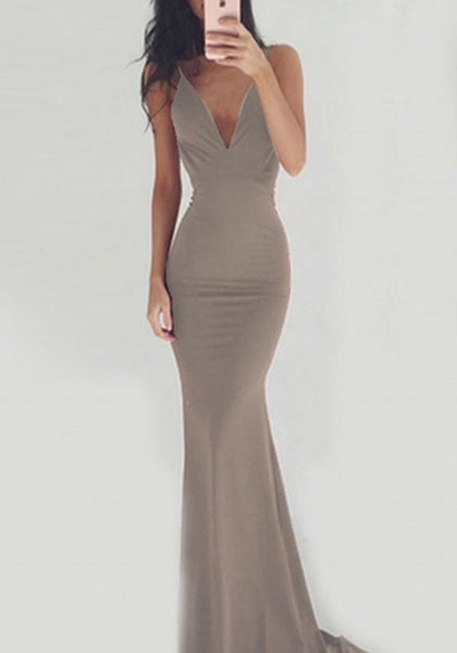 Apricot Draped Spaghetti Strap Backless Bodycon V-neck Party Maxi Dress