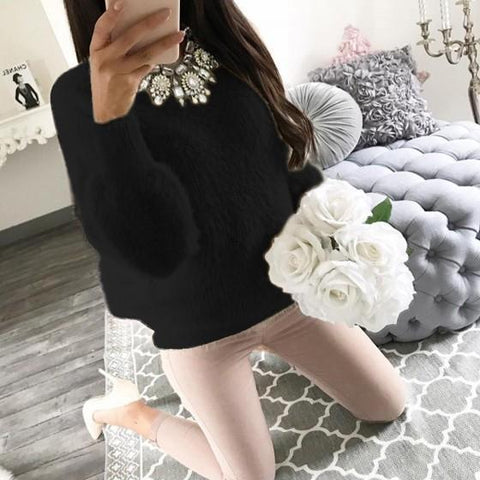 DaysCloth Black Round Neck Long Sleeve Casual Pullover Sweater