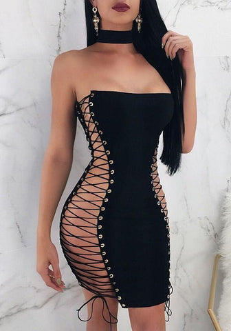 DaysCloth Black Cross Lace-up Bandeau Off Shoulder Backless Bodycon Clubwear Mini Dress