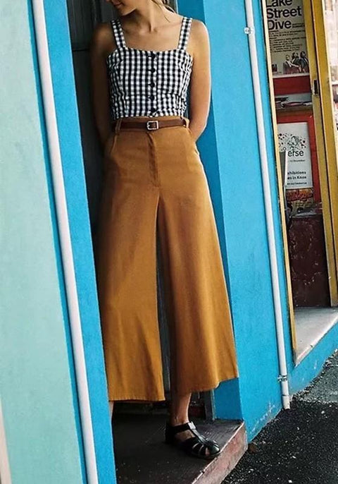 DaysCloth Camel Pockets Zipper Buttons Fashion Nine's Wide Leg Pants