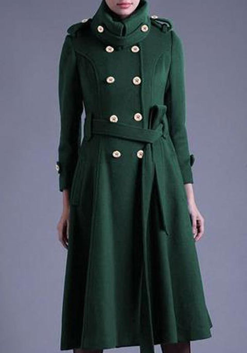 DaysCloth Green Patchwork Sashes Double Breasted Turndown Collar Long Sleeve Fashion Coat