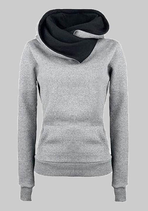 DaysCloth Grey Pockets Long Sleeve Cowl Neck Hooded Casual Pullover Sweatshirt