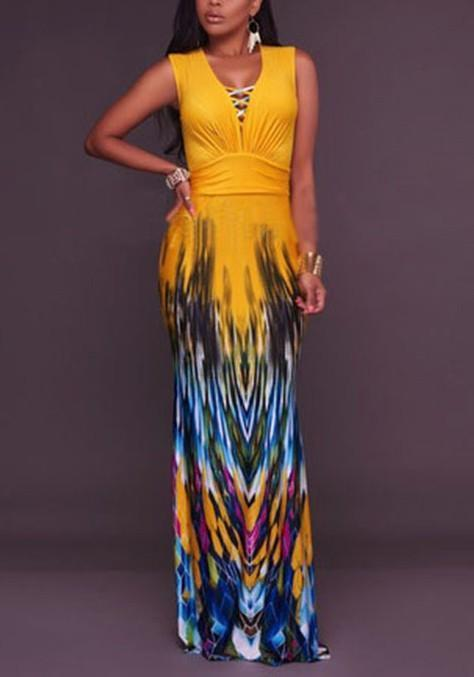 DaysCloth Yellow Floral Print Cut Out Bodycon V-neck Bohemian Maxi Dress