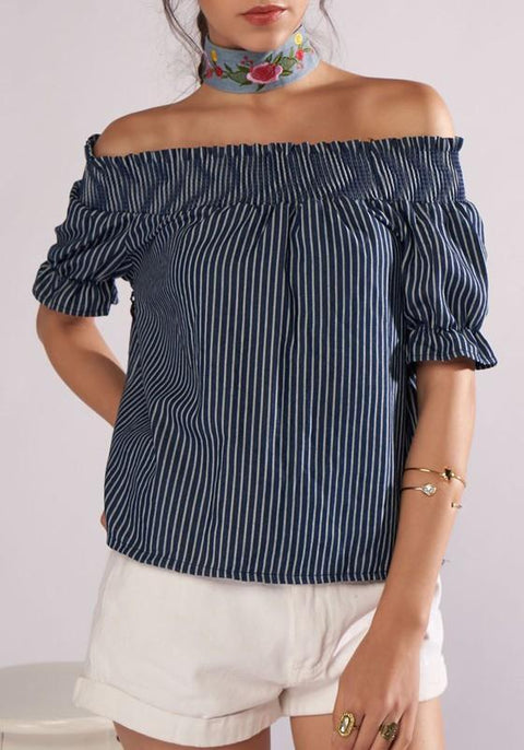 DaysCloth Dark Blue Striped Print Off Shoulder Backless Going out Blouse