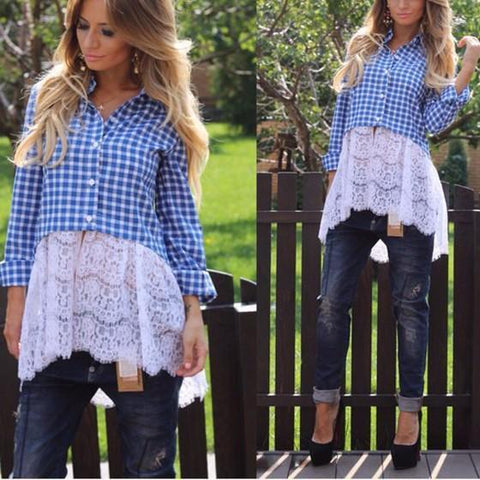 DaysCloth Blue Plaid Patchwork Single Breasted V-neck Fashion Blouse