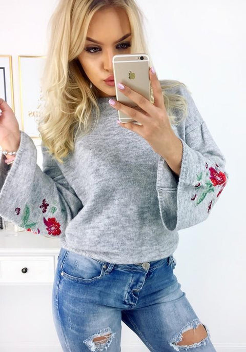 DaysCloth Grey Flowers Embroidery Round Neck Casual Pullover Sweater