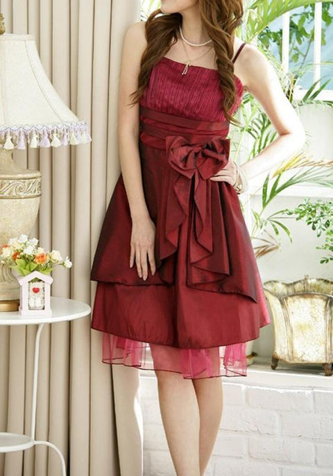 DaysCloth Red Patchwork Grenadine Ruffle Bow Pleated Midi Dress