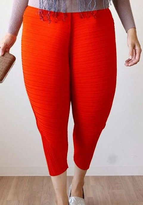 DaysCloth Red Ruffle Elastic Waist Plus Size Harem Fried Chicken Nine's Pants