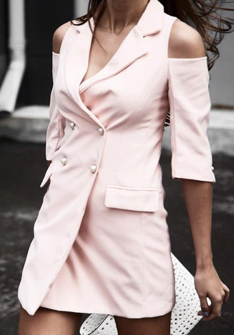 DaysCloth Pink Cut Out Turndown Collar Double Breasted Sweet Coat
